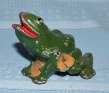 Antique Cast Metal Green Frog Lily Pad Pencil Holder Vase Figurine Origin Paint