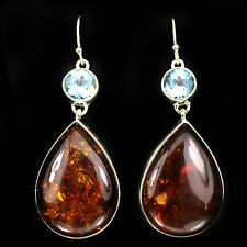 Silver 925 Genuine Natural Honey Amber Cabochon & Blue Topaz Earrings
