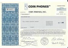 COIN PHONES INC.......1986 STOCK CERTIFICATE