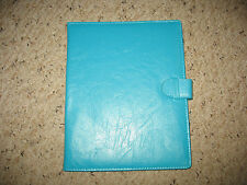 Used Turquoise Leather Like Ipad Compatible Cover.  Soft Gray Inside.