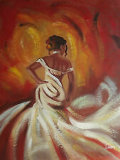 sexy woman white dress large oil painting canvas art brown contemporary original