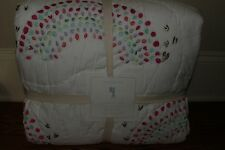NWT Pottery Barn Kids Rainbow FQ quilt full queen f/q hearts