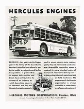 1936 BIG Vintage Hercules Motor Engines Bus Art Print Ad