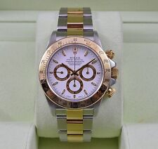 Rolex Daytona 16523 Cosmograph Two Tone White Dial 18K & Stainless SEL WOW!