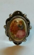 Vintage Poison Ring Enamel Courting Couple Portrait Ring