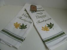 Thanksgiving Tea Towels Dish Towels - 2 - Fall Leaves and Blessings Script - NEW
