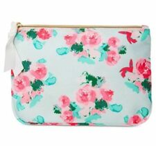 MACY'S teal green pink floral rose COSMETIC MAKEUP BAG CASE PURSE POUCH clutch