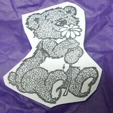 Loving Teddy bear flower rubber stamp unmounted sticky cushion card making