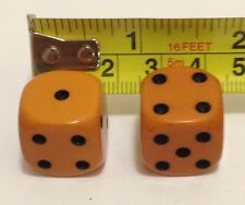 ANTIQUE ART DECO BAKELITE BUTTERSCOTCH AMBER PAIR OF MEGA RARE DICE #90716