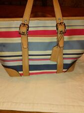 coach ladies handbags red,white and blue fabric genuine leather trim