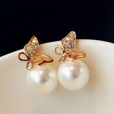 Fashion Women Crystal Golden Flying Butterfly Imitation Pearl Ear Stud Earring