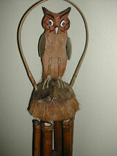 SHAVED COCONUT SHELL AND WOOD HAND PAINTED PERCHED OWL W/ 6 BAMBOO WIND CHIMES