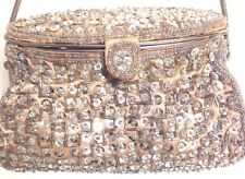 Beautiful Handcrafted in Indonesia Silver Beaded & sequins Evening Clutch