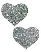 Valentines Pasties Heart Silver Glitter Dancer Reusable Breast Nipple Cover Rave