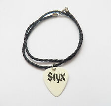 """STYX guitar pick plectrum braided LEATHER NECKLACE 20"""""""