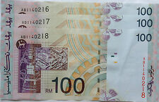 RM100 Ahmad Don side sign 3 pcs Running Number Note AB 1140216 - 218