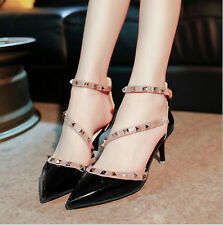 Women Ladies Studded Shoes Pointed Toe Ankle Strappy High Heels Rivet Stiletto