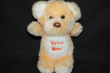 Animal Toy Imports You're A Winner Peach White Teddy Bear Vtg 1985  Plush 7.5""