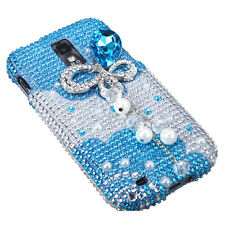 for Samsung Galaxy S2 T989 (T-Mobile) -3D Blue Butterfly Diamond Bling Hard Case