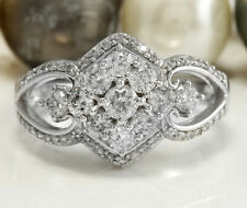1.17 CTW Natural SI1-SI2 F-G DIAMONDS in 14K Solid White Gold Women Ring
