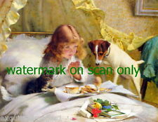 c1883 Barber~Jack Russell Terrier Dog & Cat Eye Girl's Breakfast~NEW Note Cards