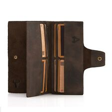 Crazy Horse Genuine Leather Mens Long Wallet Cowhide ID Card Zipper Coin Purse
