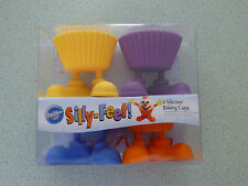 Wilton Silly-Feet Silicone Baking Cup Molds Cupcake Nut & Favor Cups Set of 4