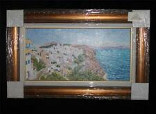 "Diane Monet ""Santorini"" Framed Original Oil List $24K Greece Island Aegean Sea"