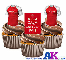 12 Edible Birthday Cup Cake Toppers Keep Calm I'm An Arsenal Fan Football Shirts