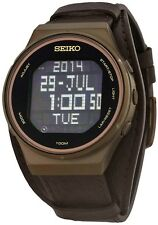 Seiko Mens Digital Matrix Wrist Watch Stainless Steel Brown Leather STP019 100M