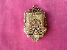 VICTORIAN INTRICATE HEAVY 14K GOLD PICTURE CHARM LOCKET WEIGHING .45 TROY OUNCES