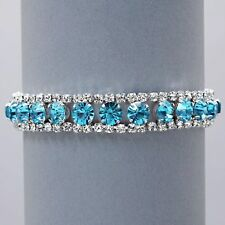 Aqua diamante tennis bracelet prom party cyan sparkly rhinestone bling  0077