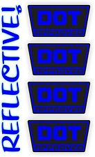 REFLECTIVE Blue DOT Approved Motorcycle Helmet Stickers Hard Hat Decals Labels