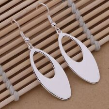 Ladies 925 Sterling Silver Oval Cut Out Hoop Fashion Drop Dangle Earrings Gift