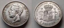 SPAIN COIN AMADEO I 5 PESETAS 1871 *18*71 SD-M PLATA SILVER ORIGINAL R5862