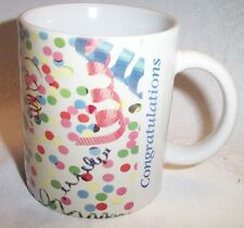 Coffee Cup Mug Congratulations Image of Confetti and Curling Ribbon  New
