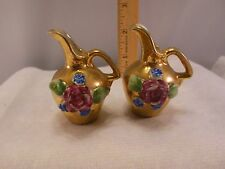 "LOT OF 2-VINTAGE MINIATURE GOLD TONE PITCHERS w/FLOWERS ""MADE IN JAPAN"""