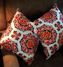 Two White, Red, Blue,& Yellow Indoor/Outdoor Decorative Pillows- Water Resistant