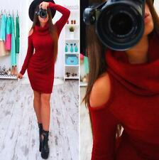 Sexy Women Off Shoulder Long Sleeve Jumper Tops Knitted Sweater Pullover Dress