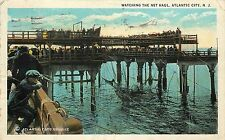 White Border Postcard Watching Fishing Net Haul Atlantic City NJ posted 1924