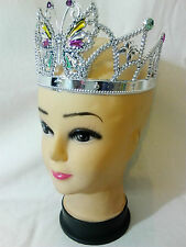 Silver Butterfly Queen Princess Fancy Dress Adjustable Plastic Gem Crown Tiara