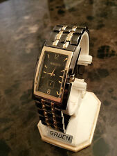 Wow! New, never worn Gruen men's watch, gunmetal+gold color FREE SHIPPING