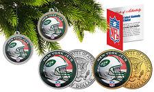 NEW YORK JETS Christmas Tree Ornaments JFK Half Dollar US 2-Coin Set NFL
