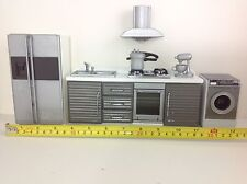 Dollhouse Miniature Modern Kitchen Furniture Silver Gray w/ Washing Machine 1:12