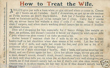 Original postcard W A Bilton how to treat the wife funny poem A4