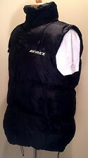 RARE AVIREX WINTER PUFFER HOODED VEST THICK FILLED WARM SZ LARGE BLACK **MINT**