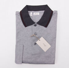 NWT $500 BRIONI Gray Longsleeve Pique Cotton Polo Shirt S Contrast Collar