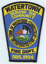 WATERTOWN CONNECTICUT CT Serving Our Community FIRE PATCH