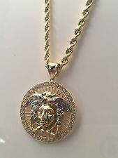 100% Real 10K Solid Yellow & White Gold Medusa Pendant Charm Medallion 8 Grams