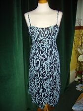 Laura Lees for Topshop Animal Print Blue Dress Empire Line Style Embroidery Sml